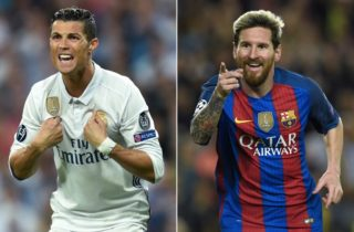 A combination of images shows (L-R) Real Madrid's Portuguese forward Cristiano Ronaldo and Barcelona's Argentinian forward Lionel Messi. Cristiano Ronaldo looks set to match his great rival Lionel Messi on December 07, 2017 by claiming a fifth Ballon d'Or as recognition for leading Real Madrid to a La Liga and Champions League double last season. / AFP PHOTO / Lluis GENE