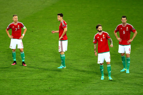 TOULOUSE, FRANCE - JUNE 26:  (L to R) Balazs Dzsudzsak, Richard Guzmics, Tamas Kadar and Akos Elek of Hungary show their dejection after their 0-4 defeat in the UEFA EURO 2016 round of 16 match between Hungary and Belgium at Stadium Municipal on June 26, 2016 in Toulouse, France.  (Photo by Dean Mouhtaropoulos/Getty Images)