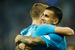 SAINT PETERSBURG, RUSSIA - AUGUST 13: Leandro Paredes (R) and Aleksandr Kokorin of FC Zenit Saint Petersburg celebrates a goal during the Russian Football League match between FC Zenit St. Petersburg and FC Akhmat Grozny at Saint Petersburg Stadium on August 13, 2017 in Saint Petersburg, Russia. (Photo by Epsilon/Getty Images)