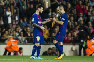 Andres Iniesta from Spain of FC Barcelona giving the captain bracelet to Leo Messi from Argentina of FC Barcelona during the La Liga match between FC Barcelona v RCD Espanyol at Camp Nou Stadium on September 9, 2017 in Barcelona, Spain.  (Photo by Xavier Bonilla/NurPhoto)