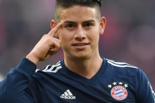 Bayern's James Rodriguez celebrates after his goal for 0:2 during the German Bundesliga football match between FSV Mainz 05 and Bayern Munich at the Opel Arena in Mainz, Germany, 3 February 2018.  (EMBARGO CONDITIONS - ATTENTION: Due to the accreditation guidelines, the DFL only permits the publication and utilisation of up to 15 pictures per match on the internet and in online media during the match.) Photo: Torsten Silz/dpa