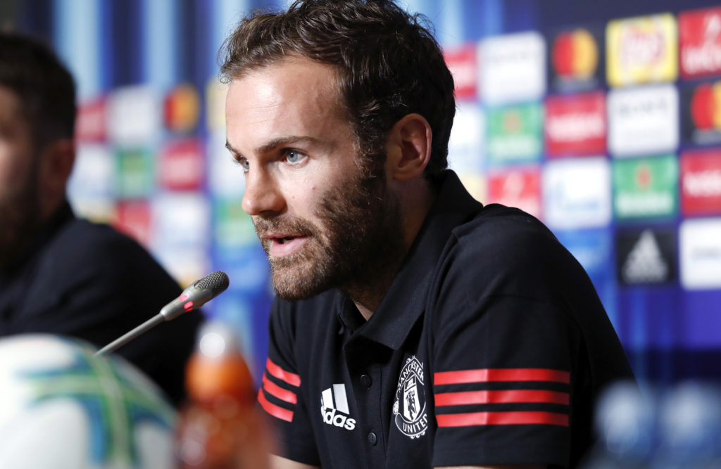 """Juan Mata player of Manchester United attends a press conference ahead of the UEFA Super Cup final football match between Real Madrid and Manchester United at National Arena Filip II Macedonian on August 7, 2017 in Skopje, Macedonia.  / AFP PHOTO / UEFA / Boris STREUBEL / RESTRICTED TO EDITORIAL USE - MANDATORY CREDIT """"AFP PHOTO / UEFA / BORIS STREUBEL"""" - NO MARKETING NO ADVERTISING CAMPAIGNS - DISTRIBUTED AS A SERVICE TO CLIENTS"""