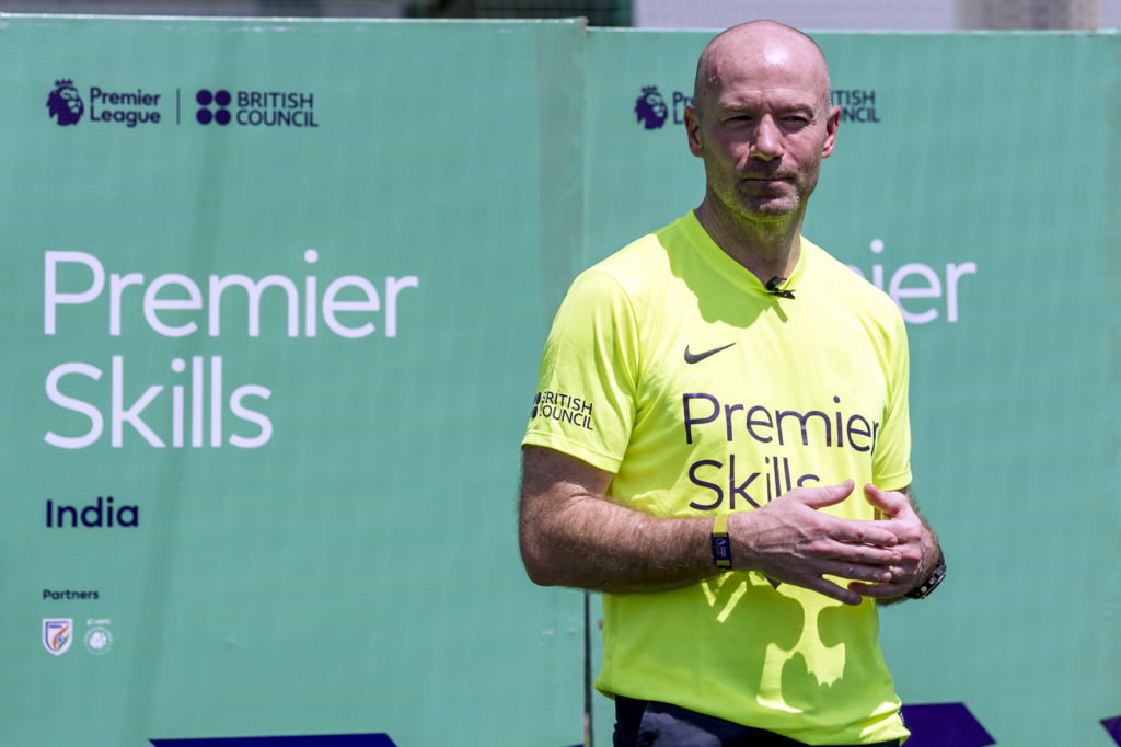 MUMBAI, INDIA - MARCH 04:  Premier League legend Alan Shearer attends a coaching demonstration and tournament for local youngsters led by locally trained Premier Skills coaches on March 4, 2017 in Mumbai, India. Premier Skills is the Premier League's global coaching and referee development programme and has been running in Mumbai since 2016. The Premier Skills programme, a partnership between the Premier League and the British Council, trains sports coaches, referees and youth leaders to return to their own communities and enhance their existing football sessions, whilst also developing their leadership skills and a greater understanding of the role football can play in tackling other social issues. Premier Skills has already delivered a highly successful programme in India, training 400 coaches, who in turn have reached 20,000 young people since the programme's inception in 2007. (Photo by Ali Bharmal/Getty Images for Premier League)
