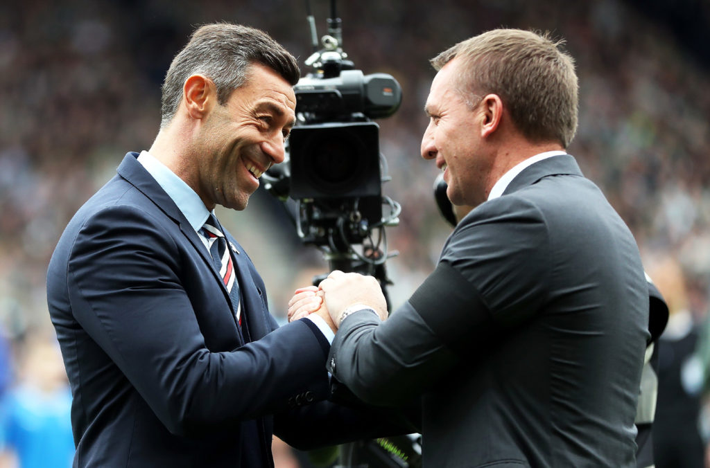 GLASGOW, SCOTLAND - APRIL 23: Celtic Manager Brendan Rodgers  and Rangers manager Pedro Caixinha are seen during the William Hill Scottish Cup semi-final match between Celtic and Rangers at Hampden Park on April 23, 2017 in Glasgow, Scotland. (Photo by Ian MacNicol/Getty Images)