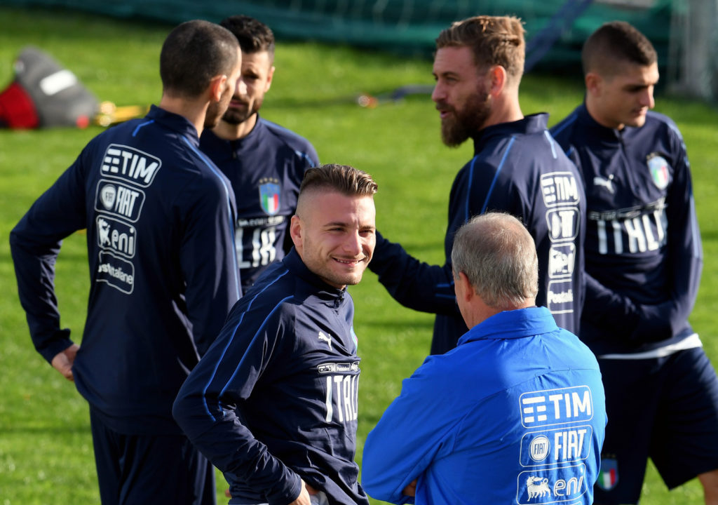 FLORENCE, ITALY - NOVEMBER 07:  Head coach Italy Gian Piero Ventura (R) and Ciro Immobile of Italy chat during a training session at Italy club's training ground at Coverciano on November 7, 2017 in Florence, Italy.  (Photo by Claudio Villa/Getty Images)