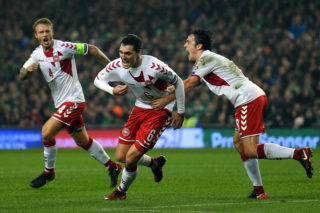 DUBLIN, IRELAND - NOVEMBER 14:  Andreas Christensen of Denmark (centre) celebrates with team mates Simon Kjaer (L) and Thomas Delaney after scoring during the FIFA 2018 World Cup Qualifier Play-Off: Second Leg between Republic of Ireland and Denmark at Aviva Stadium on November 14, 2017 in Dublin, Ireland.  (Photo by Mike Hewitt/Getty Images)