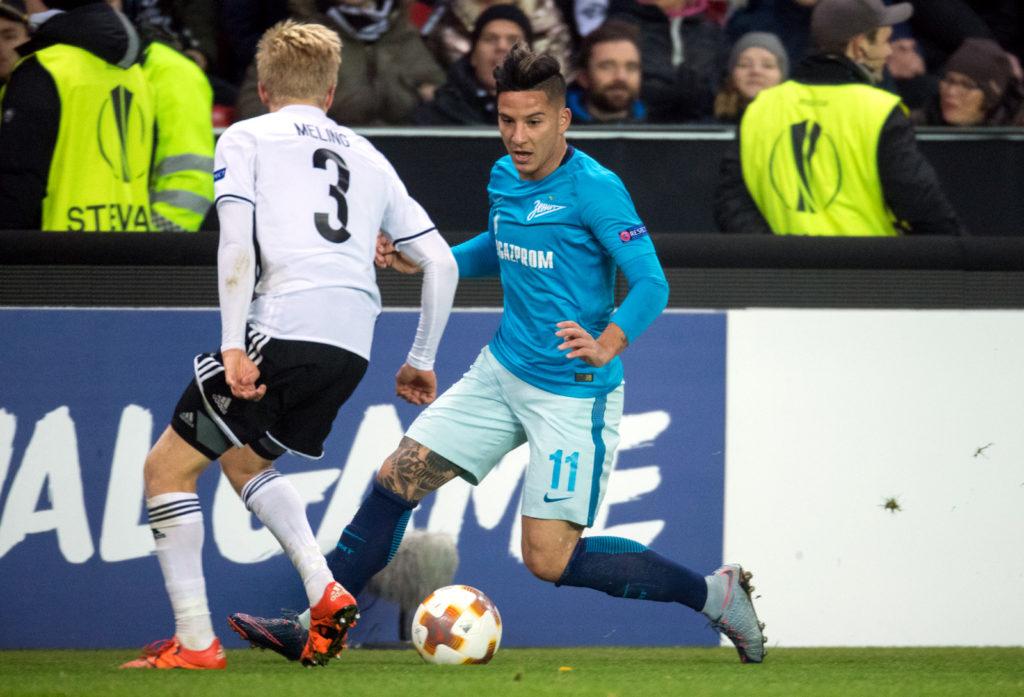 TRONDHEIM, NORWAY - NOVEMBER 02, 2017. UEFA Europa League, round 4: Rosenborg BK (Norway) 1-1 Zenit St Petersburg (Russia). Rosenborg's Birger Meling (L) and Zenit St Petersburg's Sebastian Driussi (R).