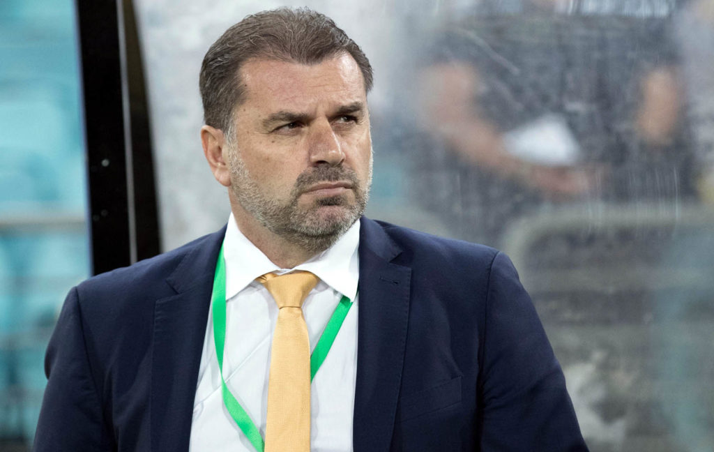 SYDNEY, AUSTRALIA - NOVEMBER 15:  Australia Coach Ange Postecoglou watches on from the sideline before the 2018 FIFA World Cup Qualifiers Leg 2 match between the Australian Socceroos and Honduras at ANZ Stadium on November 15, 2017 in Sydney, Australia.  (Photo by Mark Kolbe/Getty Images)