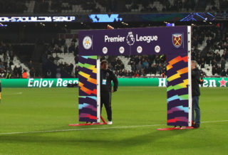 LONDON, ENGLAND - NOVEMBER 24:  Flags and hoardings are seen in support of the Stonewall Rainbow Laces campaign prior to the Premier League match between West Ham United and Leicester City at London Stadium on November 24, 2017 in London, England.  (Photo by Matthew Lewis/Getty Images)