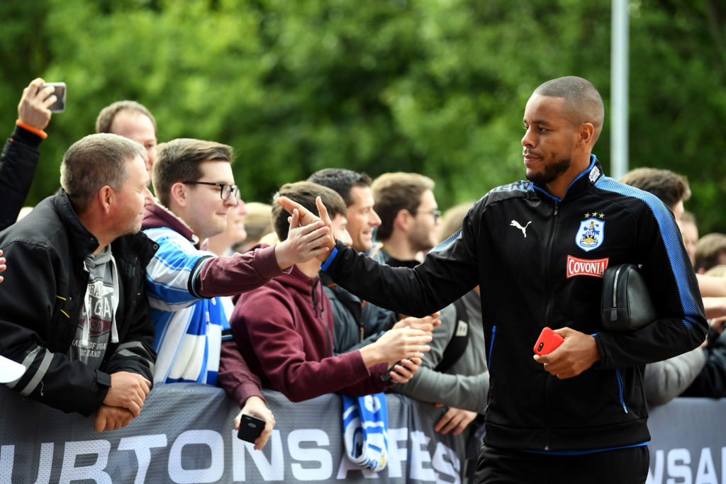 HUDDERSFIELD, ENGLAND - SEPTEMBER 16: Mathias Jorgensen of Huddersfield Town arrives at the stadium prior to the Premier League match between Huddersfield Town and Leicester City at John Smith's Stadium on September 16, 2017 in Huddersfield, England.  (Photo by Laurence Griffiths/Getty Images)