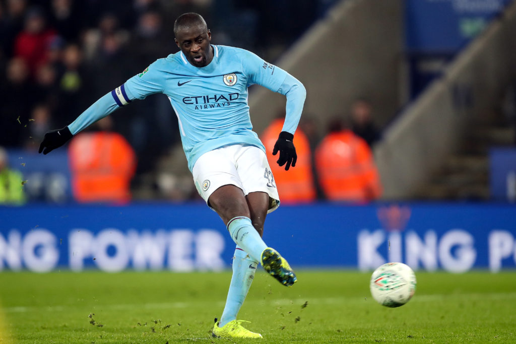 LEICESTER, ENGLAND - DECEMBER 19: Yaya Toure of Manchester City scores his penalty during the Carabao Cup Quarter-Final match between here Leicester City v Manchester City at The King Power Stadium on December 19, 2017 in Leicester, England. (Photo by Robbie Jay Barratt - AMA/Getty Images)