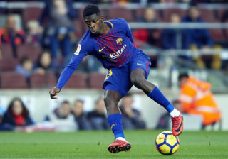 BARCELONA, SPAIN - JANUARY 07:  Ousmane Dembele of Barcelona in action during the La Liga match between Barcelona and Levante at Camp Nou on January 7, 2018 in Barcelona, Spain.  (Photo by Manuel Queimadelos Alonso/Getty Images)