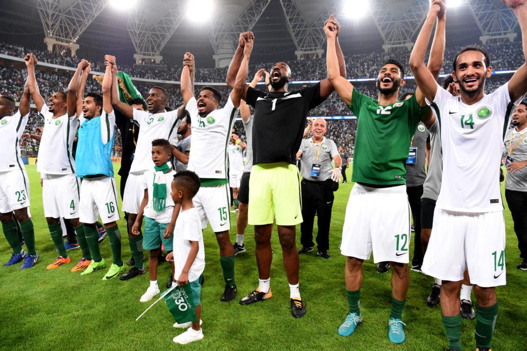 "Football - Fifa World Cup Russia 2018 / ""rSaudi Arabia Team_Celebrates for Qualifing at FIFA Russia WC 2018 , From the left : Motaz Hawsawi ,Abdullah Al Zori ,Hussain Al Moqahwi ,Osama Hawsawi ,Nasser Al Shamrani ,Waleed Abdullah ,Mohammed Al-Fatil and Abdullah Otayf"