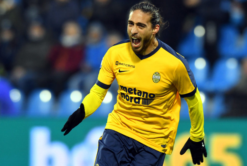 FERRARA, ITALY - DECEMBER 10:  Silva Jose Martin Caceres of Hellas Verona celebrates after scoring his team second goal during the Serie A match between Spal and Hellas Verona FC at Stadio Paolo Mazza on December 10, 2017 in Ferrara, Italy.  (Photo by Alessandro Sabattini/Getty Images)