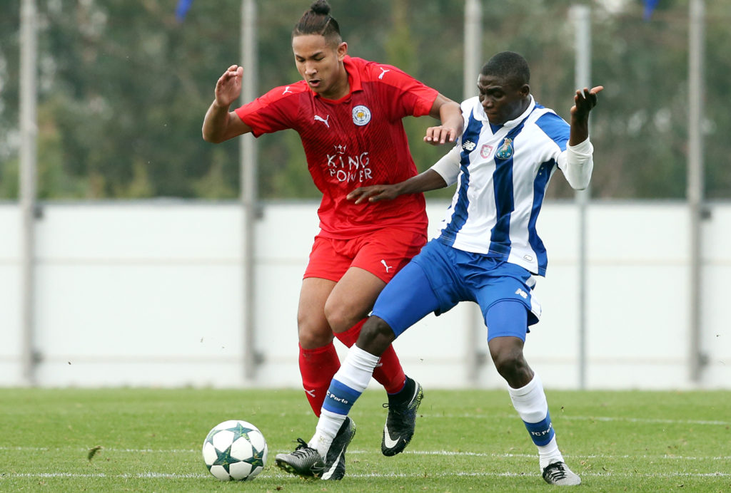 OLIVAL, PORTUGAL - DECEMBER 7:  FC Porto's forward James Artur (R) with Faiq Bolkiah of Leicester City FC (L) in action during the UEFA Youth Champions League match between FC Porto and Leicester City FC at Centro de Estagios do Olival on December 7, 2016 in Olival, Portugal.  (Photo by Gualter Fatia/Getty Images)