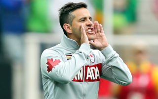 SAO PAULO, BRAZIL - AUGUST 03: John Herdman, head coach of Canada in action during the match between Canada and Australia womens football for the summer olympics at Arena Corinthians on August 3, 2016 in Sao Paulo, Brazil. (Photo by Alexandre Schneider/Getty Images)