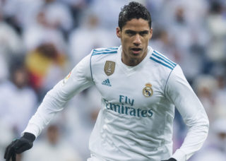 MADRID, SPAIN - JANUARY 13: Raphael Varane of Real Madrid in action during the La Liga 2017-18 match between Real Madrid and Villarreal CF at Santiago Bernabeu Stadium on January 13 2018 in Madrid, Spain. (Photo by Power Sport Images/Getty Images)