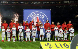LYON, FRANCE - JANUARY 21:  Players of Paris Saint Germain (PSG) and  Olympique Lyonnais pose before the Ligue 1 match between Olympique Lyonnais and Paris Saint Germain (PSG) at Parc OL on January 21, 2018 in Lyon, France.  (Photo by Xavier Laine/Getty Images)
