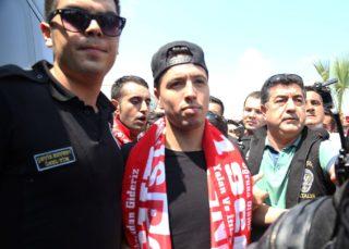 ANTALYA, TURKEY - AUGUST 20 : Antalyaspor's new transfer Samir Nasri (C) is welcomed by team fans as he arrives in Antalya, Turkey on August 20, 2017. Gulsem Adam / Anadolu Agency