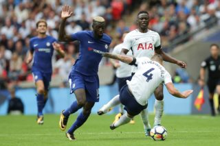Chelsea's French midfielder Tiemoue Bakayoko (L) takes on Tottenham Hotspur's Belgian defender Toby Alderweireld (R) during the English Premier League football match between Tottenham Hotspur and Chelsea at Wembley Stadium in London, on August 20, 2017. / AFP PHOTO / Daniel LEAL-OLIVAS / RESTRICTED TO EDITORIAL USE. No use with unauthorized audio, video, data, fixture lists, club/league logos or 'live' services. Online in-match use limited to 75 images, no video emulation. No use in betting, games or single club/league/player publications.  /
