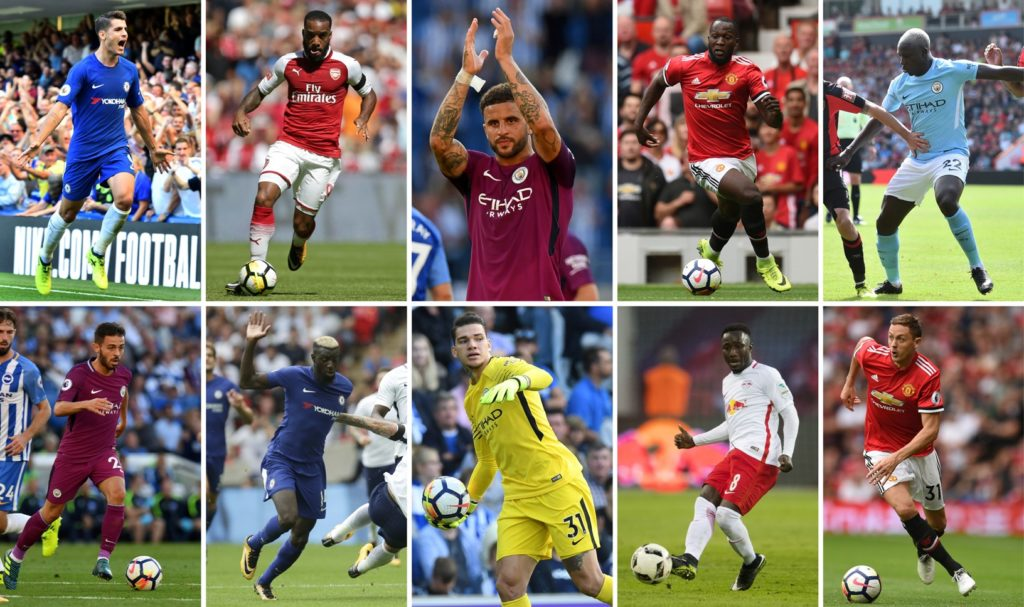 A combination of photographs created in London on August 31, 2017 shows the players involved in the top 10 biggest deals in the Premier League; (top row L-R) Alvaro Morata who joined Chelsea from Real Madrid, Alexandre Lacazette who joined Arsenal from Lyon, Kyle Walker who joined Manchester City from Tottenham Hotspur, Romelu Lukaku who joined Manchester United from Everton, Benjamin Mendy who joined Manchester City from Monaco (bottom row L-R) Bernardo Silva who joined Manchester City from Monaco, Tiemoue Bakayoko who joined Chelsea from Monaco, Ederson who joined Manchester City from Benfica, Naby Keita who joined Liverpool from RB Leipzig and Nemanja Matic who joined Manchester United from Chelsea. / AFP PHOTO / STF / RESTRICTED TO EDITORIAL USE. No use with unauthorized audio, video, data, fixture lists, club/league logos or 'live' services. Online in-match use limited to 75 images, no video emulation. No use in betting, games or single club/league/player publications.  /