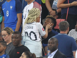 Kingsley Coman of France celebrates with girlfriend Sephora Goignan after the UEFA Euro 2016, Semi Final football match between Germany and France on July 7, 2016 at Velodrome stadium in Marseille, France - Photo Michael Zemanek / Backpage Images / DPPI