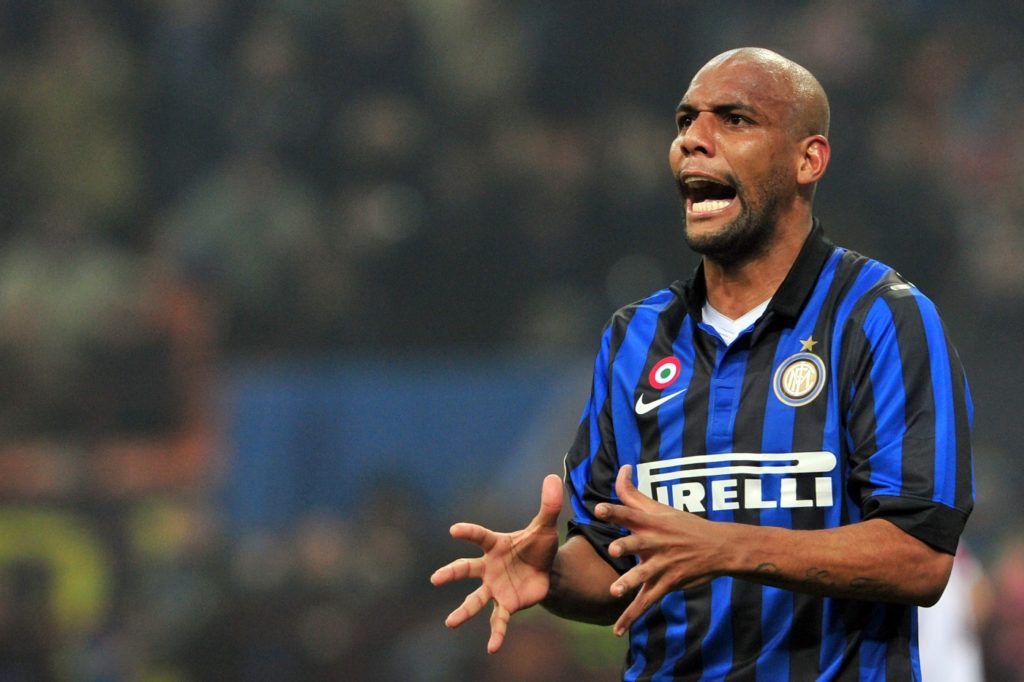 Inter Milan's Brazilian defender Maicon reacts during the A Series football match between Inter Milan and Bologna at the San Siro Stadium in Milan on February 17, 2012. AFP PHOTO / GIUSEPPE CACACE / AFP PHOTO / GIUSEPPE CACACE