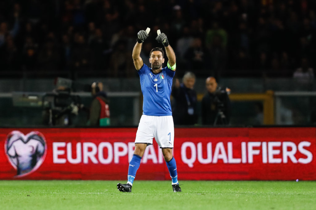 Gianluigi Buffon of Italy national team gestures during the 2018 FIFA World Cup Russia qualifier Group G football match between Italy and FYR Macedonia at Stadio Olimpico on October 6, 2017 in Turin, Italy. (Photo by Mike Kireev/NurPhoto)