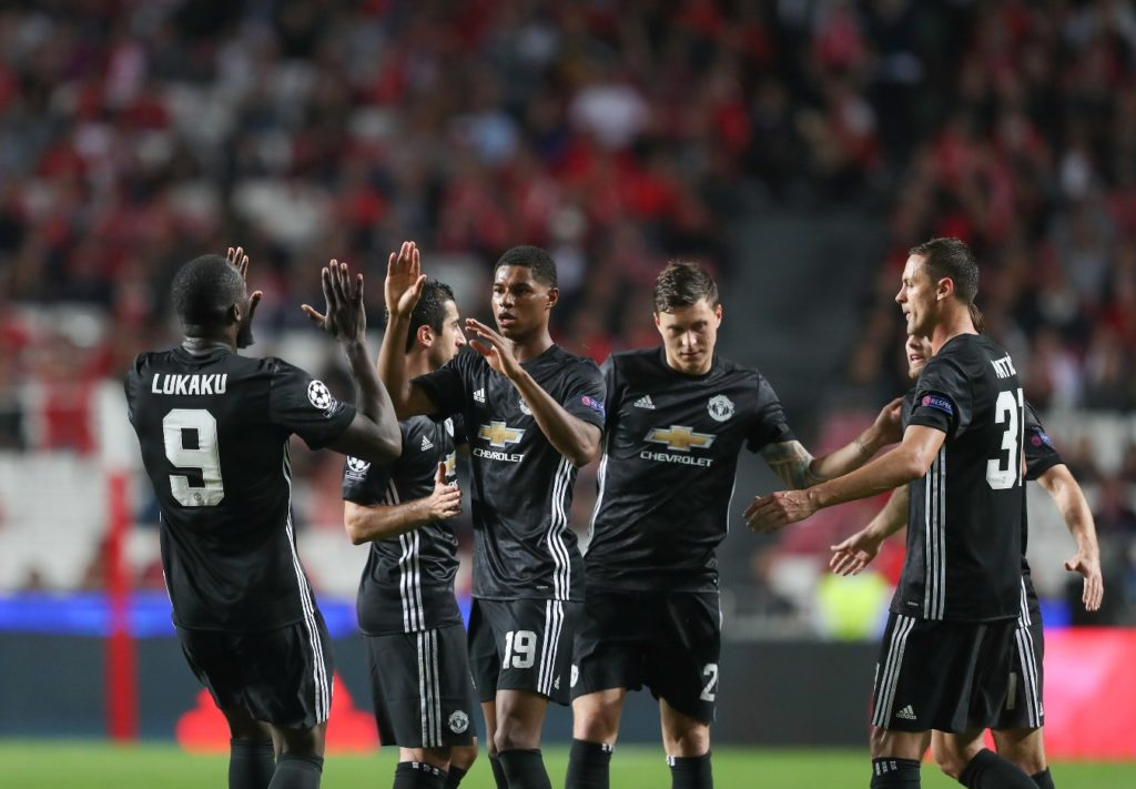 Manchester United Forward Marcus Rashford celebrating his goal with teammates during the UEFA Champions League, Group A football match between SL Benfica and Manchester United on October 18, 2017 at Estadio da Luz in Benfica, Portugal - Photo Ahmad Morra / ProSportsImages / DPPI