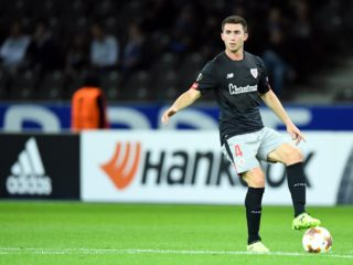 Bilbao's Aymeric Laporte during the Europa League soccer match between Hertha BSC and Athletic Bilbao, group phase, group J, 1. match day in the Olympia stadium in Berlin, Germany, 14 September 2017. Photo: Soeren Stache/dpa