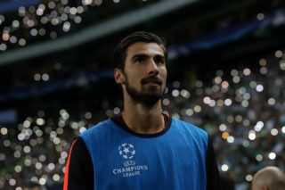 Barcelonas midfielder Andre Gomes from Portugal  during the match between Sporting CP v FC Barcelona UEFA Champions League playoff match at Estadio Jose Alvalade on September 27, 2017 in Lisbon, Portugal. (Photo by Bruno Barros / DPI / NurPhoto)