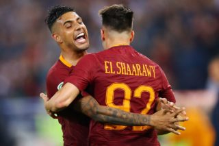 Emerson Palmieri of Roma celebrating with Stephan El Shaarawy of Roma during the Serie A match between AS Roma and Juventus FC at Stadio Olimpico on May 14, 2017 in Rome, Italy. (Photo by Matteo Ciambelli/NurPhoto)