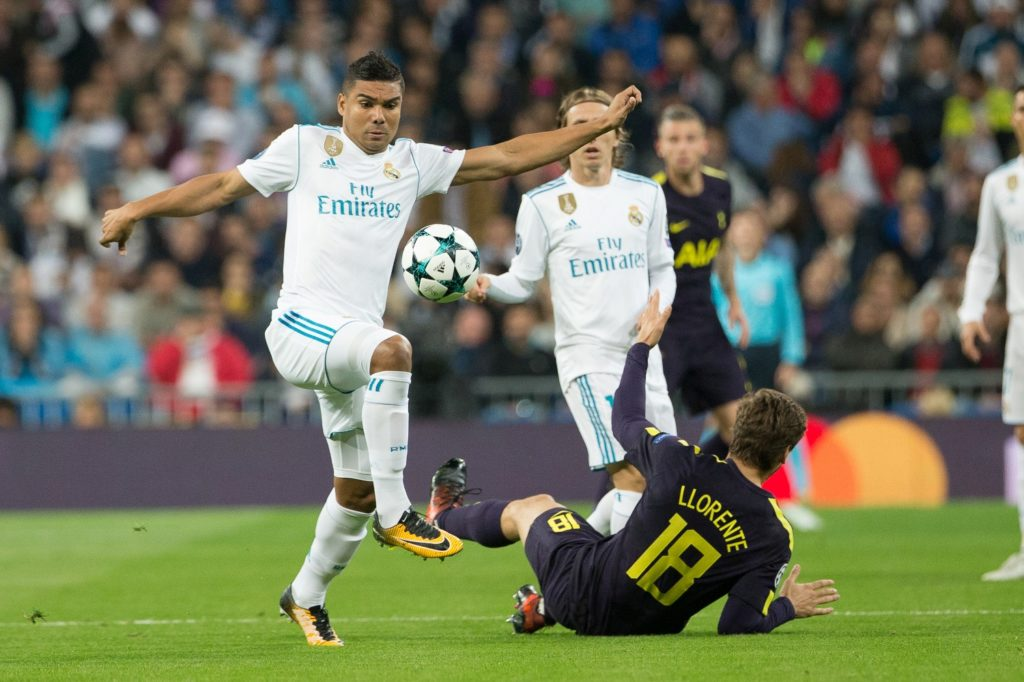 Real Madrid's Brazilian midfielder Casemiro and Fernando Llorente of Tottenham during the UEFA Champions League, Group H football between Real Madrid and Tottenham Hotspur at the Santiago Bernabeu Stadium, Madrid, Spain on 17 October 2017 - Photo by Rudy / SpainDPPI / DPPI