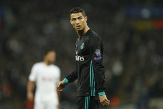 Real Madrid's Portuguese striker Cristiano Ronaldo reacts after Tottenham scored their third goal during the UEFA Champions League Group H football match between Tottenham Hotspur and Real Madrid at Wembley Stadium in London, on November 1, 2017. / AFP PHOTO / Adrian DENNIS