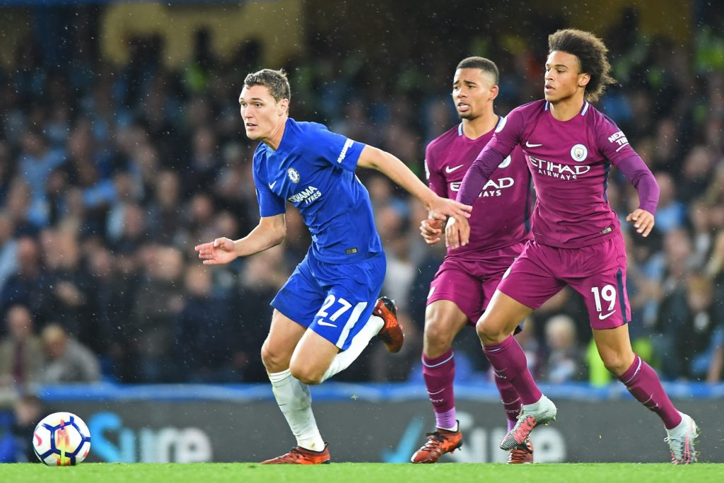 Chelsea Defender Andreas Christensen (27) breaks away from Manchester City midfielder Leroy Sane (19) during the Premier League match between Chelsea and Manchester City  at Stamford Bridge, London, England on 30 Sept 2017.  (Photo by Kieran Galvin/NurPhoto)