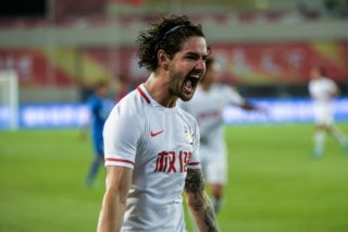 Brazilian football player Alexandre Rodrigues da Silva, known as Pato, of Tianjin Quanjian celebrates after scoring a goal against Shanghai Greenland Shenhua in their 17th round match during the 2017 Chinese Football Association Super League (CSL) in Tianjin, China, 16 July 2017.  Tianjin Quanjian defeated Shanghai Greenland Shenhua 3-0.
