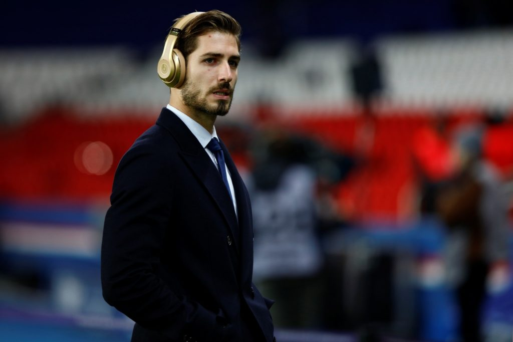 Paris Saint-Germain's German goalkeeper Kevin Trapp  reacts before the French L1 football match between Paris Saint-Germain (PSG) and Troyes at the Parc des Princes stadium in Paris on November 29, 2017.  (Photo by Mehdi Taamallah/NurPhoto)