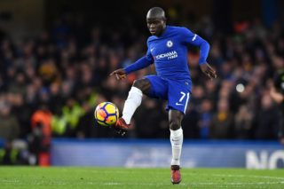 Chelsea's French midfielder N'Golo Kante passes the ball during the English Premier League football match between Chelsea and Brighton and Hove Albion at Stamford Bridge in London on December 26, 2017. / AFP PHOTO / Ben STANSALL / RESTRICTED TO EDITORIAL USE. No use with unauthorized audio, video, data, fixture lists, club/league logos or 'live' services. Online in-match use limited to 75 images, no video emulation. No use in betting, games or single club/league/player publications.  /