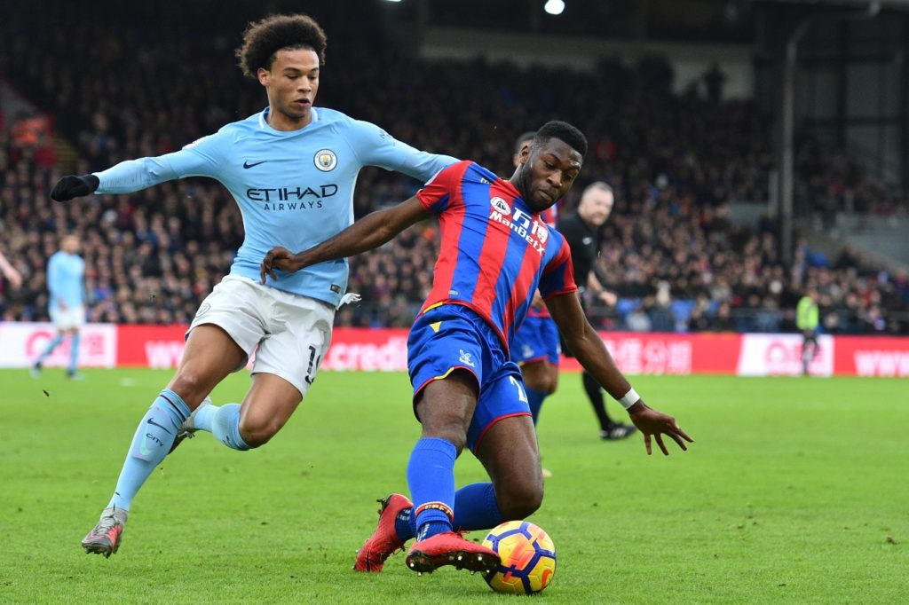 Manchester City's German midfielder Leroy Sane (L) vies with Crystal Palace's Dutch defender Timothy Fosu-Mensah during the English Premier League football match between Crystal Palace and Manchester City at Selhurst Park in south London on December 31, 2017. / AFP PHOTO / Glyn KIRK / RESTRICTED TO EDITORIAL USE. No use with unauthorized audio, video, data, fixture lists, club/league logos or 'live' services. Online in-match use limited to 75 images, no video emulation. No use in betting, games or single club/league/player publications.  /