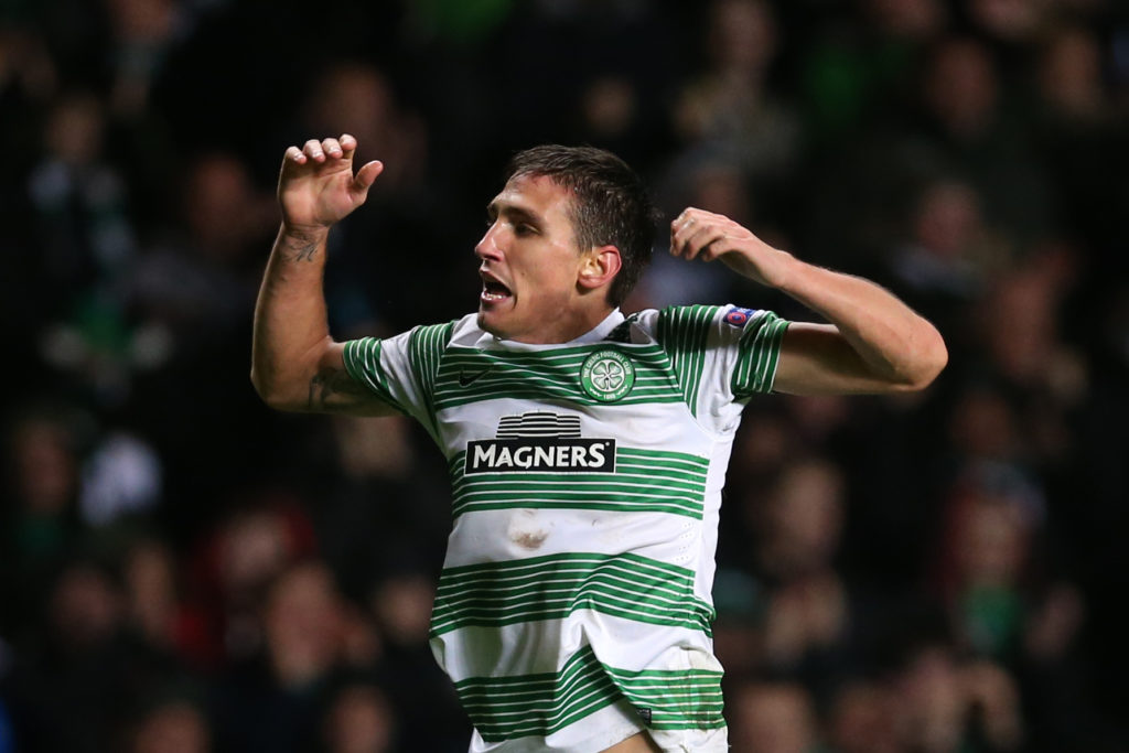 Celtic's Serbian striker Stefan Scepovic celebrates scoring the opening goal during the UEFA Europa League group D football match between Celtic and Astra Giurgiu at Celtic Park in Glasgow on October 23, 2014.  AFP PHOTO / IAN MACNICOL / AFP PHOTO / Ian MacNicol