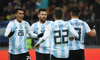 3232552 11/11/2017 From left: Argentina's Cristian Pavon, Lionel Messi, Alejandro Gomez and Sergio Aguero during the football friendly match between the national teams of Russia and Argentina. Alexey Filippov/Sputnik