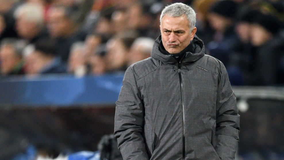 Manchester United's Portuguese manager Jose Mourinho reatcs during the UEFA Champions League Group A football match between FC Basel and Manchester United on November 22, 2017 in Basel. / AFP PHOTO / Fabrice COFFRINI        (Photo credit should read FABRICE COFFRINI/AFP/Getty Images)