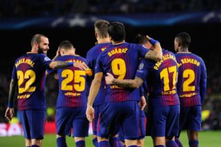 BARCELONA, SPAIN - DECEMBER 5: Paco Alcacer (2nd R) of Barcelona celebrates with his teammates after scoring a goal during the UEFA Champions League Group C soccer match between Barcelona and Sporting CP at Camp Nou Stadium in Barcelona, Spain on December 05, 2017. Lola Bou / Anadolu Agency