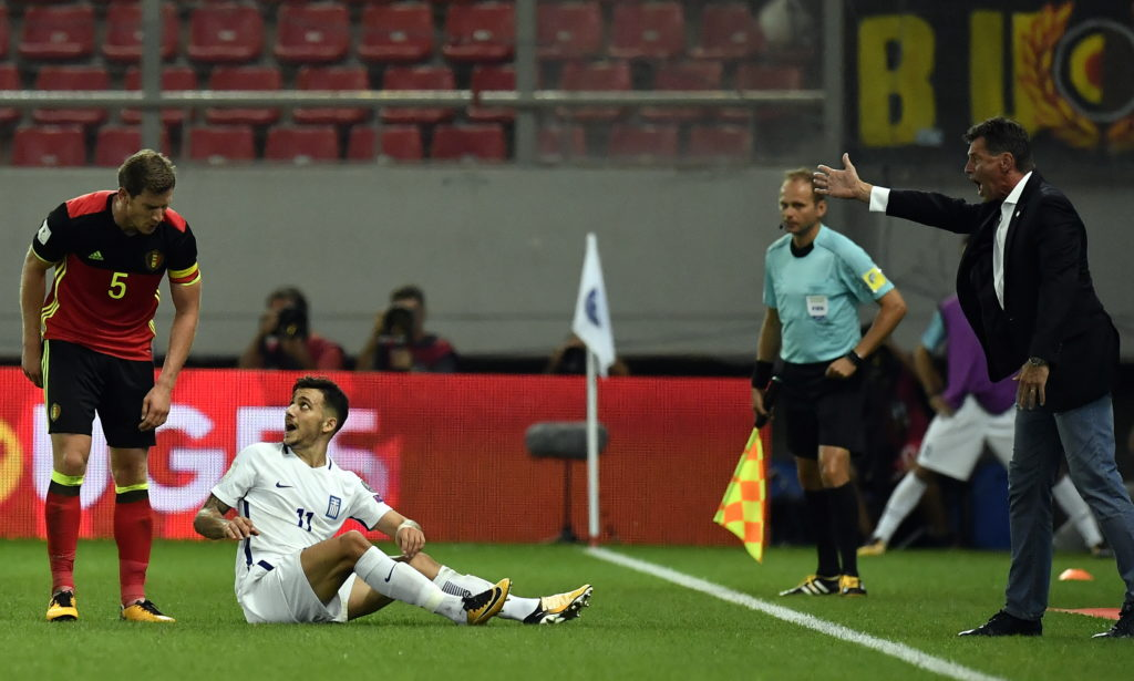 Belgium's Jan Vertonghen, Greece's Anastasios Donis and Greece's head coach Michael Skibbe pictured at a World Cup qualification game between Greece and Belgian national soccer team Red Devils in Piraeus, Athens, Greece, Sunday 03 September 2017. BELGA PHOTO DIRK WAEM