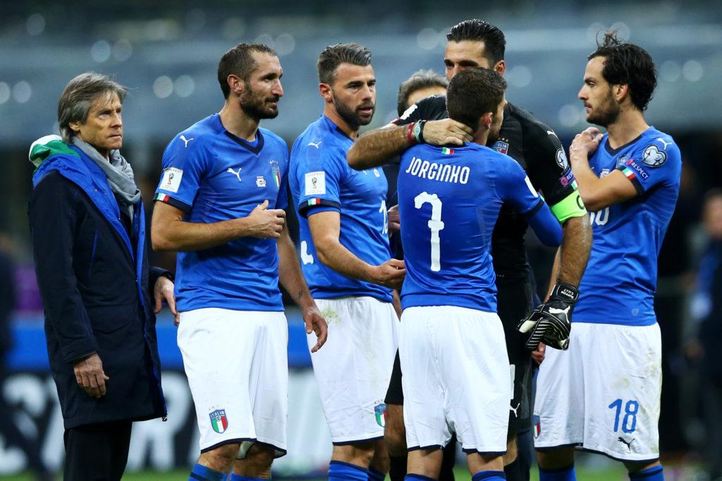 Frello Jorginho of Italy comforting Gianluigi Buffon of Italy disappointed at San Siro Stadium in Milan, Italy on November 13, 2017. (Photo by Matteo Ciambelli/NurPhoto)
