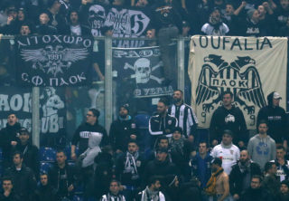 PAOK fans in the stadium during the Champions League round second match between FC Schalke 04 vs. PAOK Saloniki in the Veltins Arena in Gelsenkirchen, Germany, 22 February 2017. Photo: Ina Fassbender/dpa