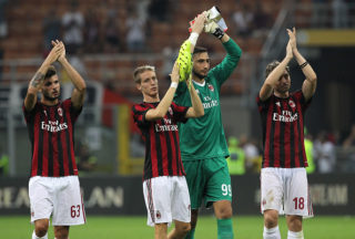 during the UEFA Europa League Qualifying Play-Offs round first leg match between AC Milan and KF Shkendija 79 at Stadio Giuseppe Meazza on August 17, 2017 in Milan, Italy.