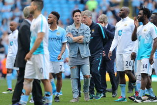 MANCHESTER, ENGLAND - MAY 08:  Samir Nasri of Manchester City wearing jeans with holes in after the Barclays Premier League match between Manchester City and Arsenal at the Ethiad Stadium on May 1, 2016 in Manchester, United Kingdom. (Photo by Matthew Ashton - AMA/Getty Images)