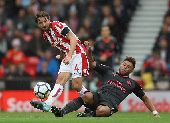 during the Premier League match between Stoke City and Arsenal at Bet365 Stadium on August 19, 2017 in Stoke on Trent, England.
