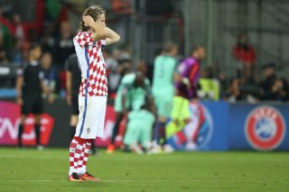 Luka Modric of Croatia, disappointed during the UEFA Euro 2016 round of 16 match between Croatia and Portugal on June 25, 2016 at the stade Bollaert-Delelis in Lens, France.(Photo by VI Images via Getty Images)